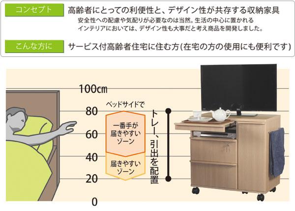 高齢者向けミドルテレビボード&ベッドサイド収納
